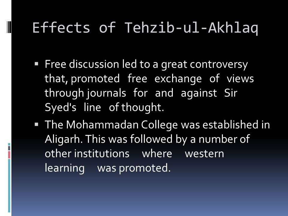 Effects of Tehzib-ul-Akhlaq