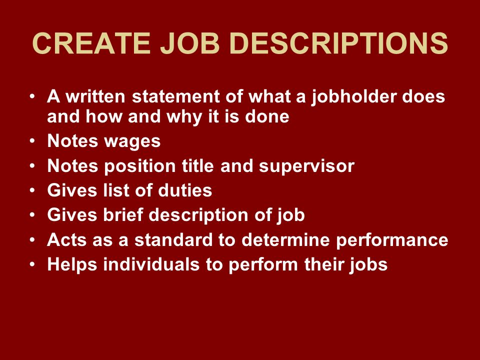 Supervisory organizing at the department level ppt download for Creating job descriptions template