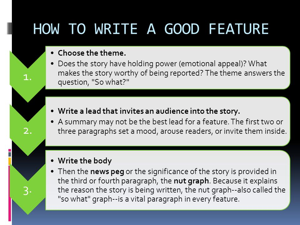 How to write a feature story for tv