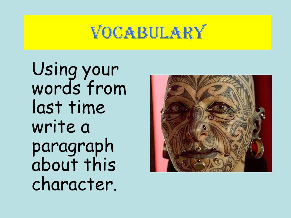 how to write a paragraph on a character