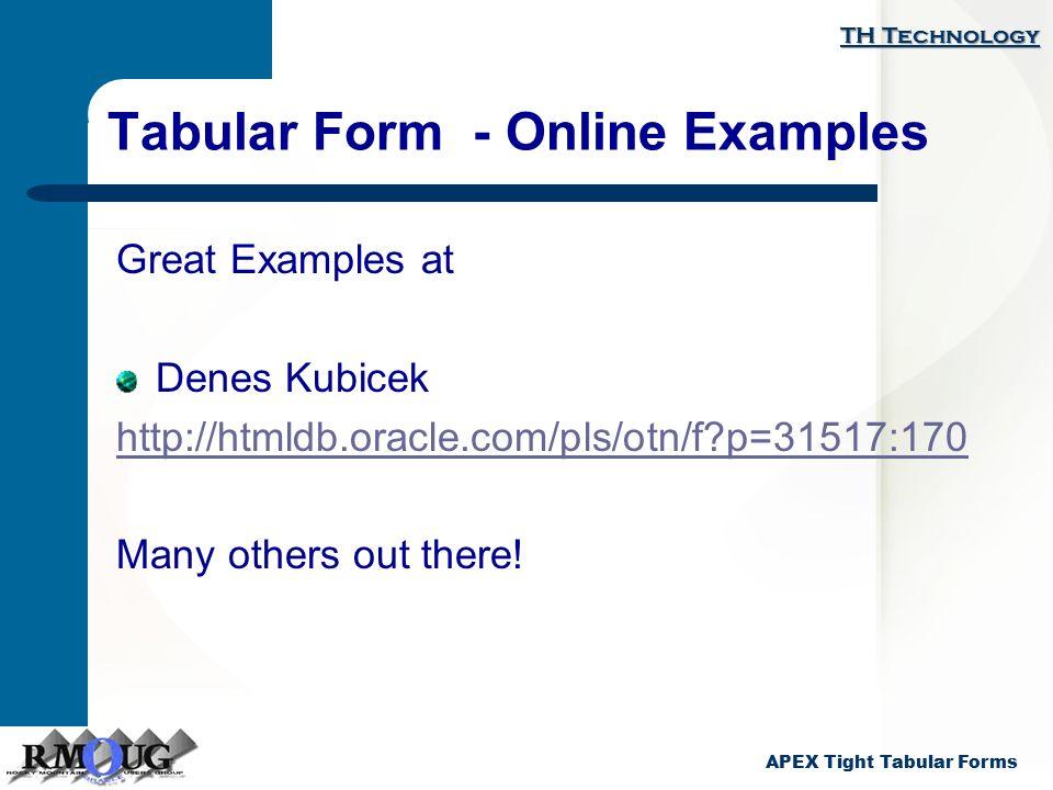tabular form example