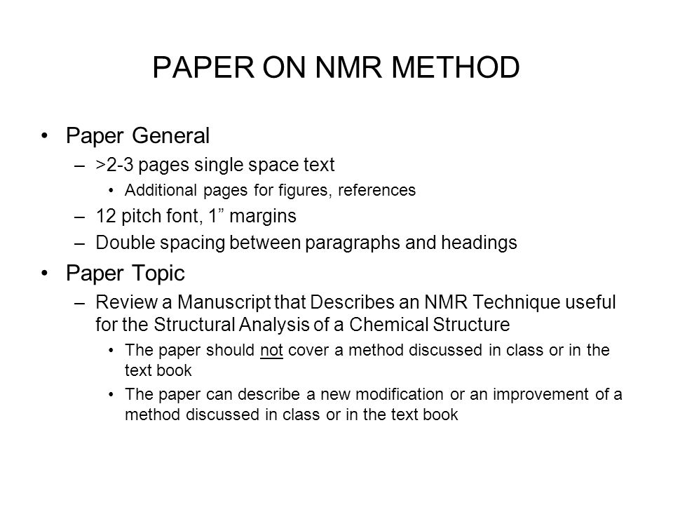 special topics in analytical chemistry introduction to nmr ppt 2 paper on nmr method paper general