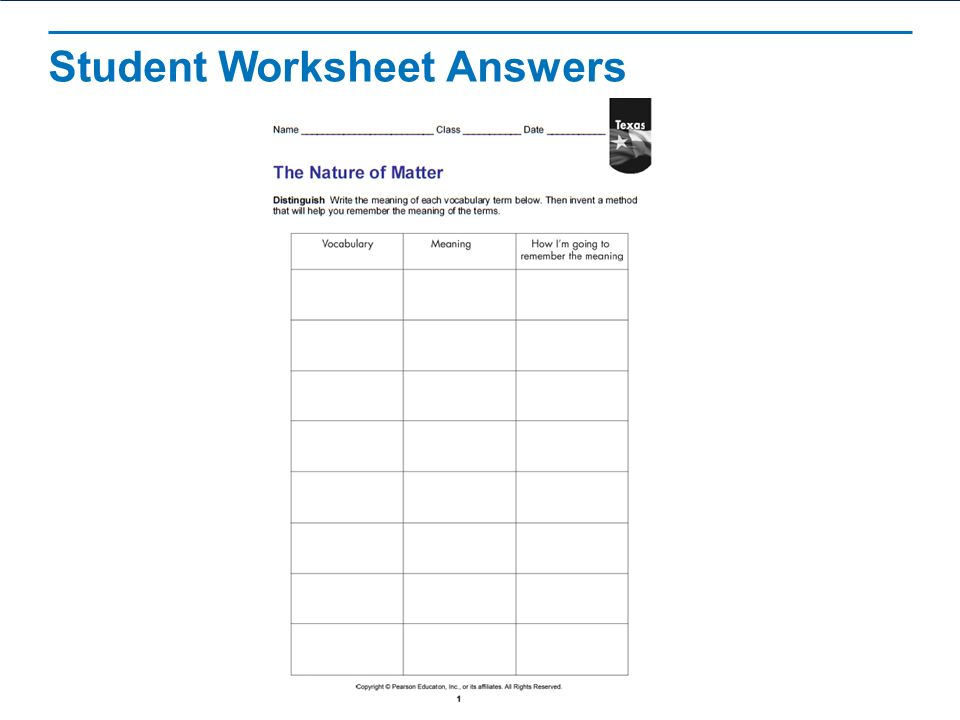 The Nature Of Matter Worksheet Free Worksheets Library | Download ...