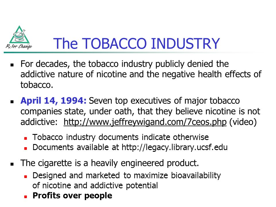 Tobacco companies know the effects