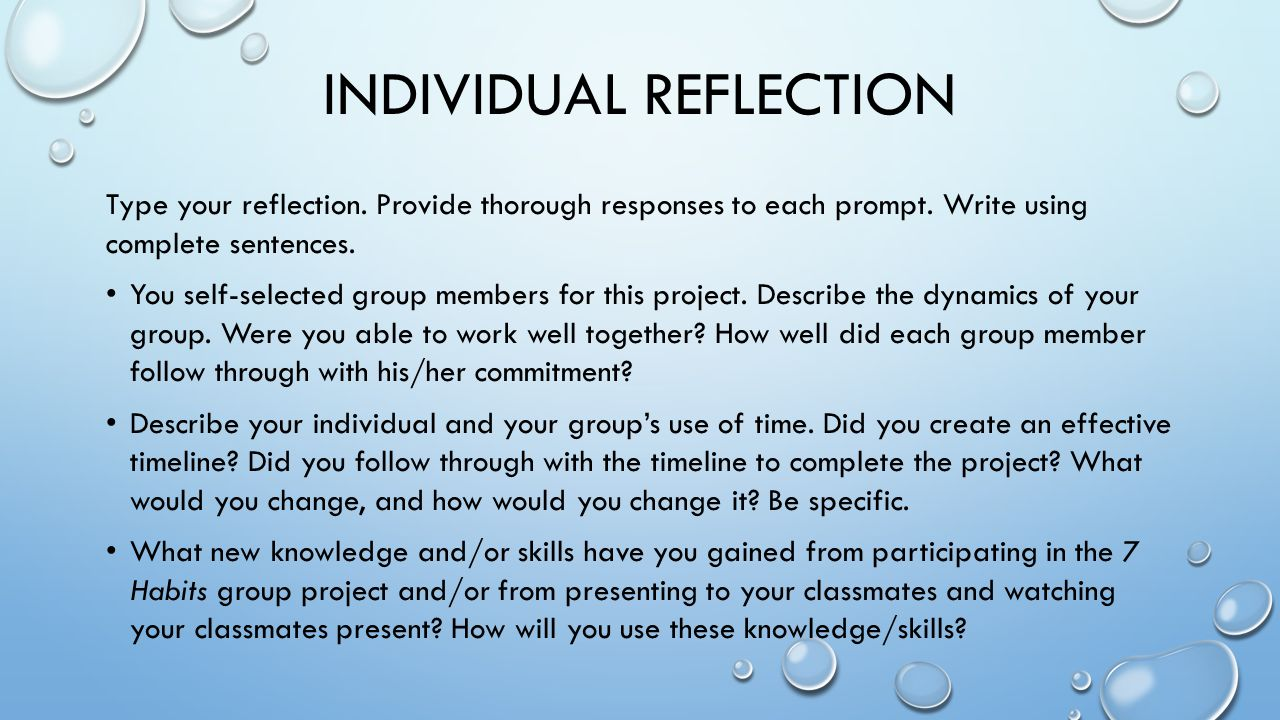 Reflection on our Group Presentation