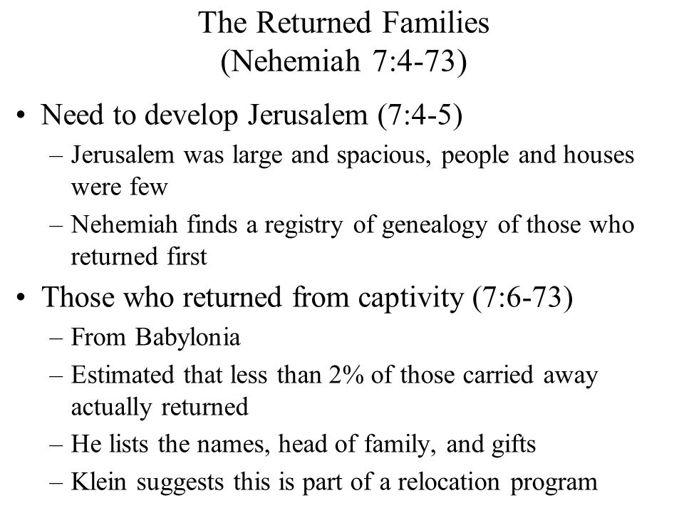 The Returned Families (Nehemiah 7:4-73)