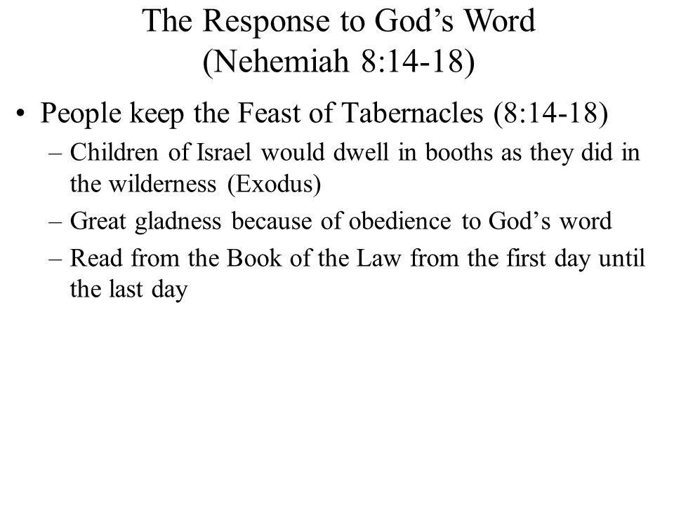 The Response to God's Word (Nehemiah 8:14-18)