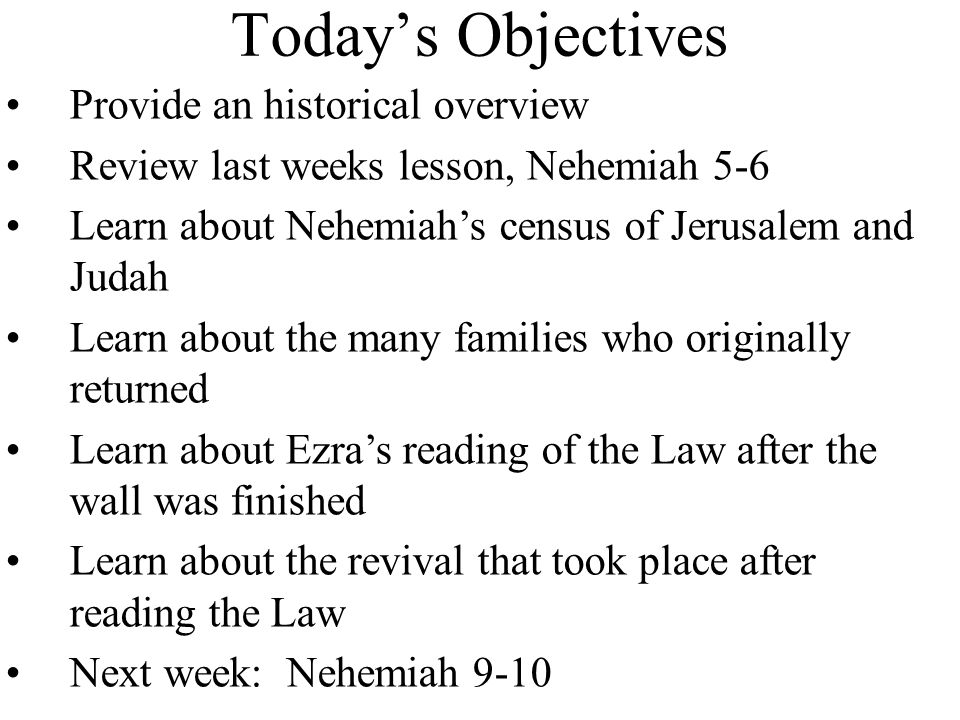 Today's Objectives Provide an historical overview