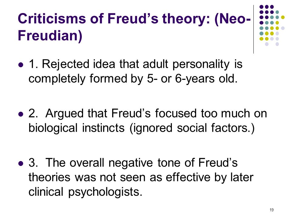 compare the neo freudian theories of personality Neo-freudians • neo-freudians - developed competing psychoanalysis theories trait theories of personality • trait theories – describe characteristics.