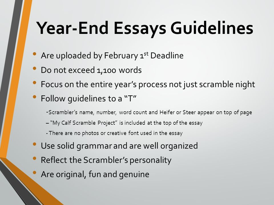 year end essays Its audience includes students in their first year, who are writing university essays  for the  alternatively, you may prefer to save your conclusions until the end.