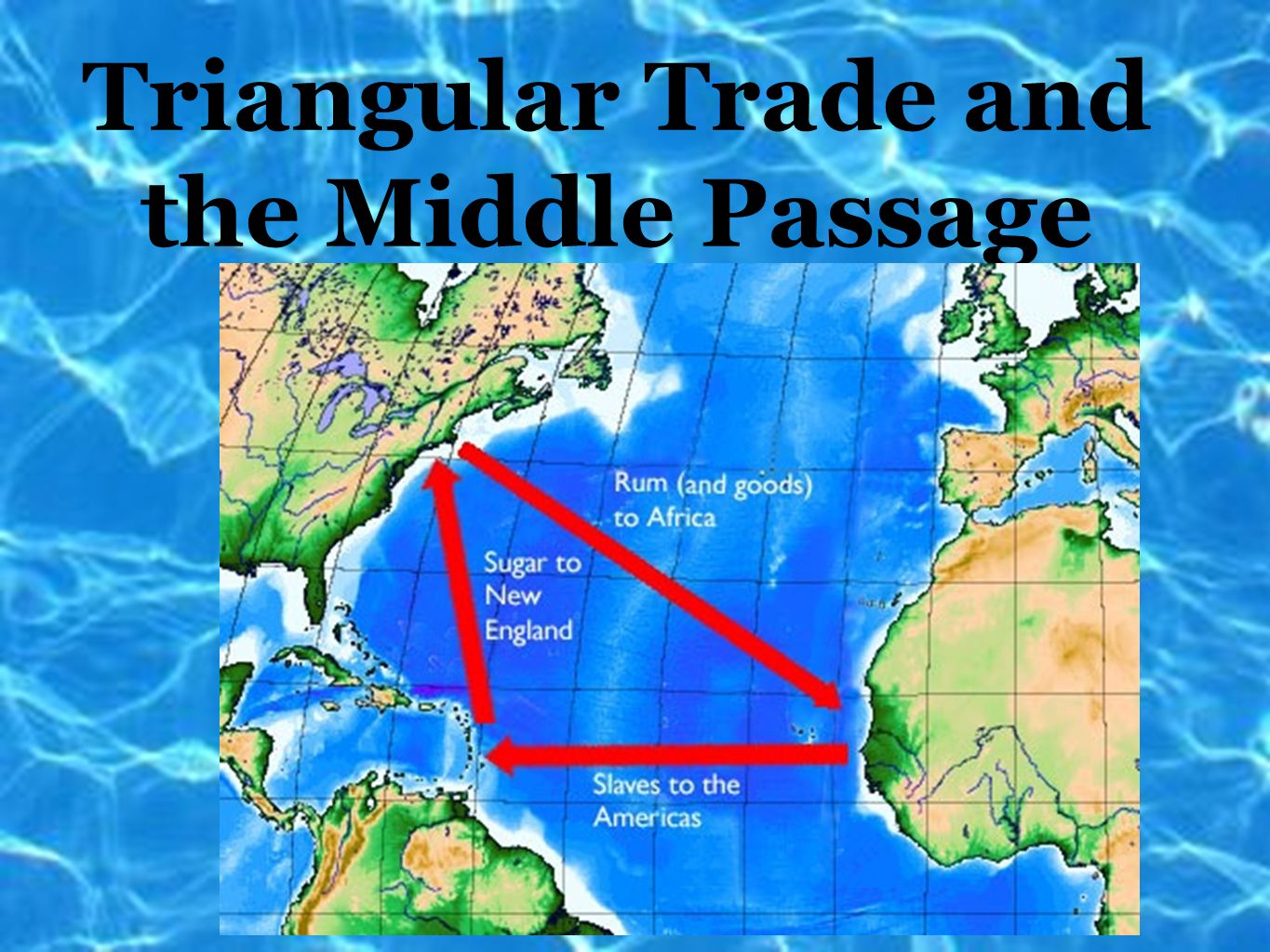 describe the triangular trade that developed in the 1500s The triangle trade was a specific trading pattern which shipped rum to africa for slaves that were then sold for molasses in the west indies.