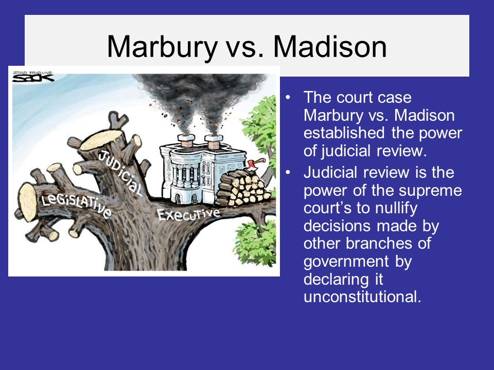 a review of the case of marbury v madison the first supreme court case asserting the power of judici