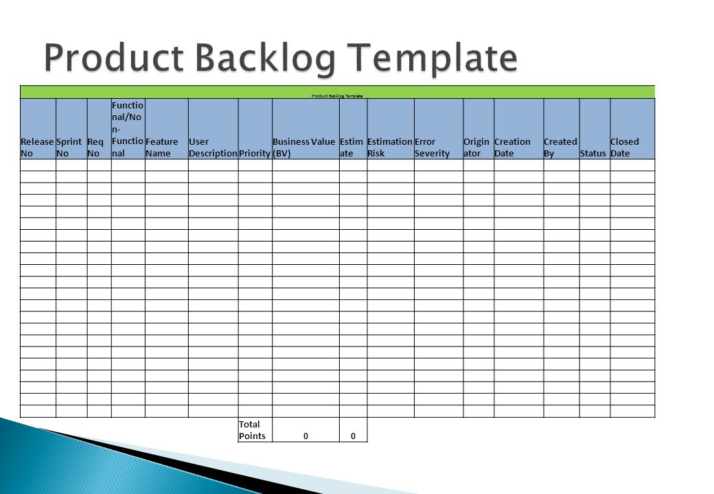product backlog template excel 28 images excel scrum