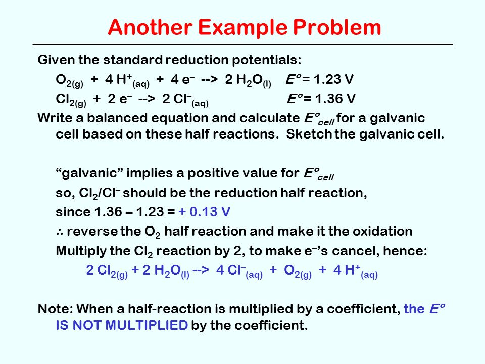 how to write balanced equations for galvanic cells