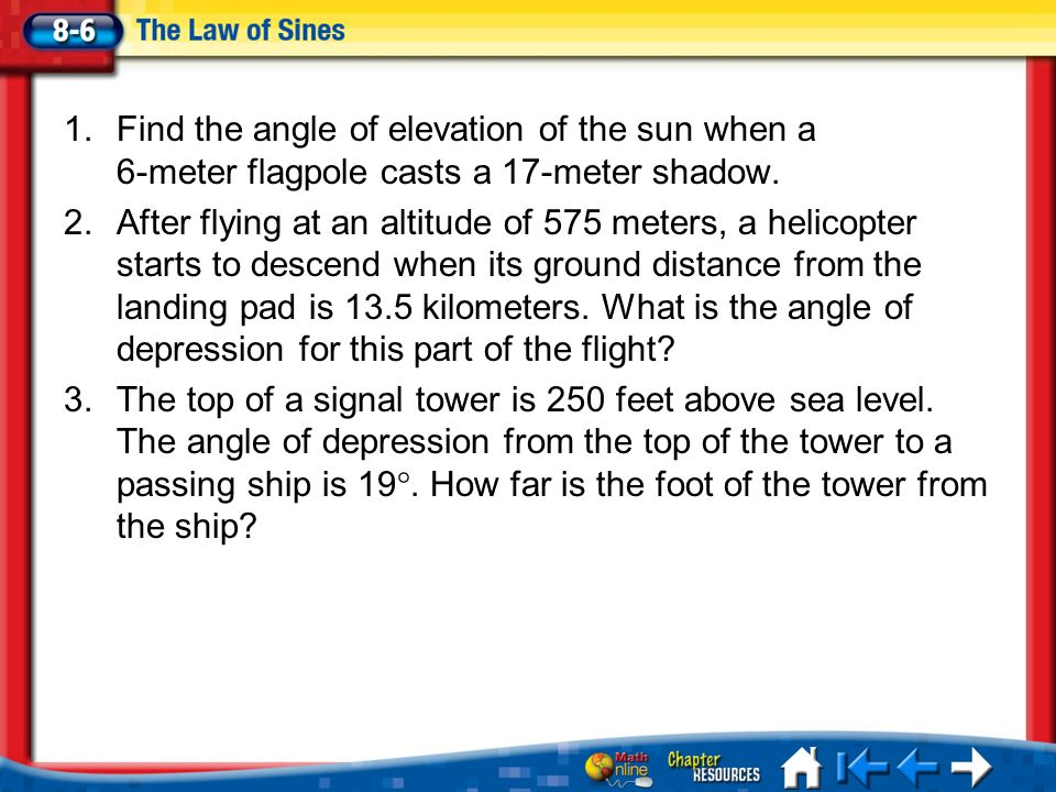 Find The Angle Of Elevation Of The Sun When A Meter Flagpole - Find elevation above sea level
