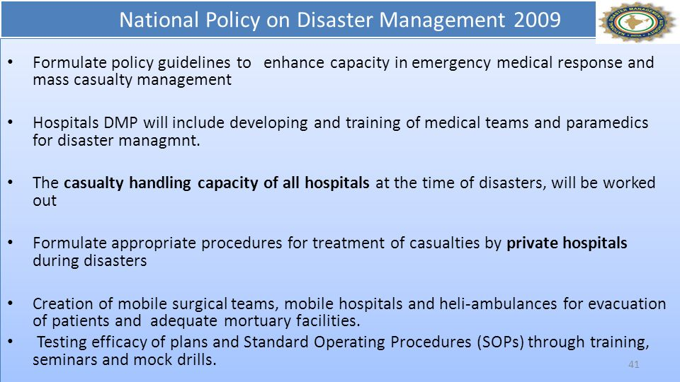 National Policy on Disaster Management 2009