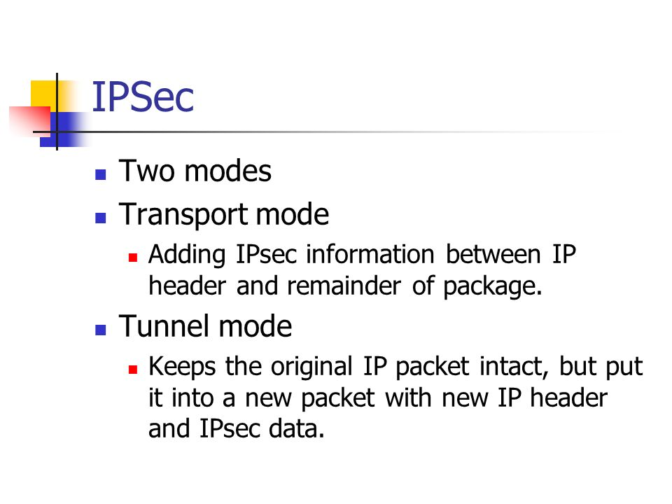 ipsec tunnel and transport modes essay 32 bit security parameter index information technology essay 1 the ipsec defines one of the following modes: 1- tunnel mode 2- transport mode transport mode: transport mode tunnel mode: ipsec header is placed at the beginning of the ip header packet and a new ip header is added in.