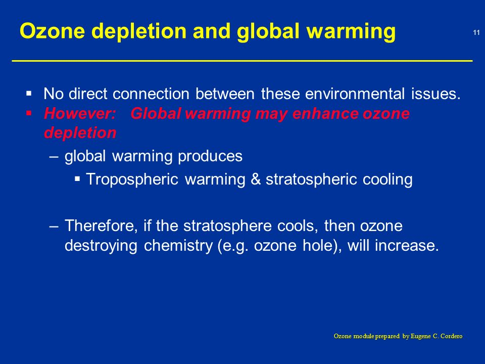 an overview of the effects of air pollution on global warming and ozone depletion Air pollution causes acid rain, reduces visibility, damages wildlife, contributes to eutrophication and depletion of the ozone layer in addition, air pollution leads to global warming hence resulting in global climate change the burning of fossil fuels releases oxides of nitrogen and sulfur into.