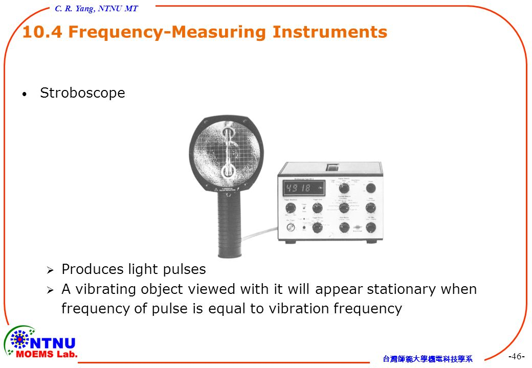 Frequency Measuring Tools : Chapter vibration measurement and applications ppt