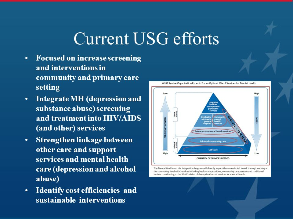 Current USG efforts Focused on increase screening and interventions in community and primary care setting.