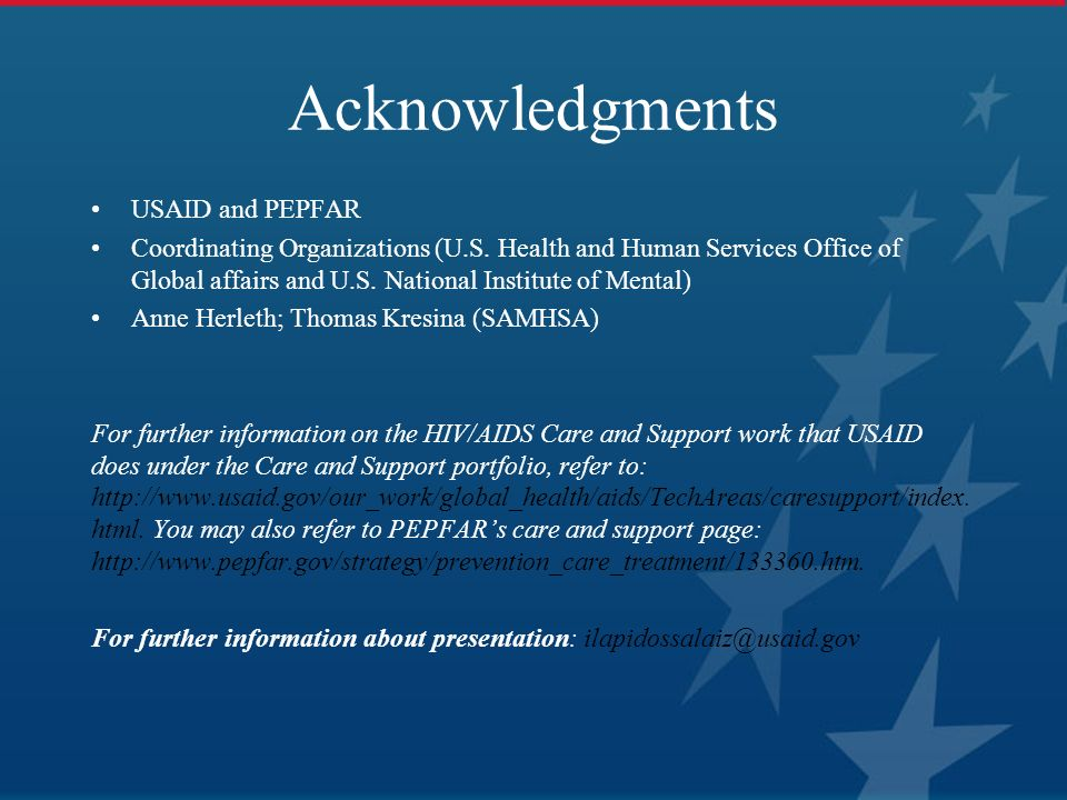 Acknowledgments USAID and PEPFAR