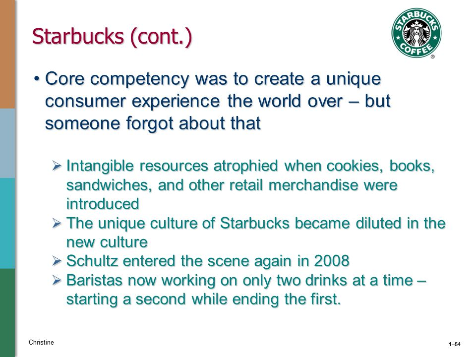 starbucks resources and capabilities When howard schultz returned to starbucks as ceo in early 2008, after a hiatus   the capability and the discipline we have around social and digital media   we are providing the china team with resources that, perhaps, other markets are .