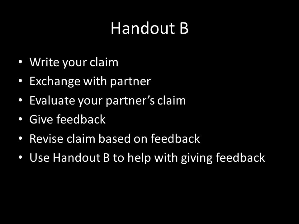 Handout B Write your claim Exchange with partner