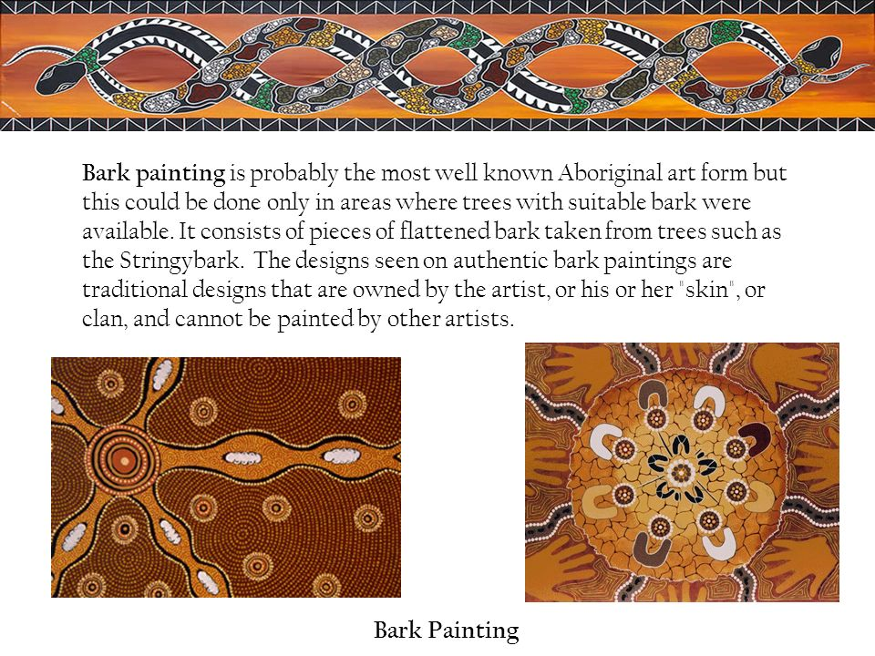 Bark painting is probably the most well known Aboriginal art form but this could be done only in areas where trees with suitable bark were available. It consists of pieces of flattened bark taken from trees such as the Stringybark. The designs seen on authentic bark paintings are traditional designs that are owned by the artist, or his or her skin , or clan, and cannot be painted by other artists.