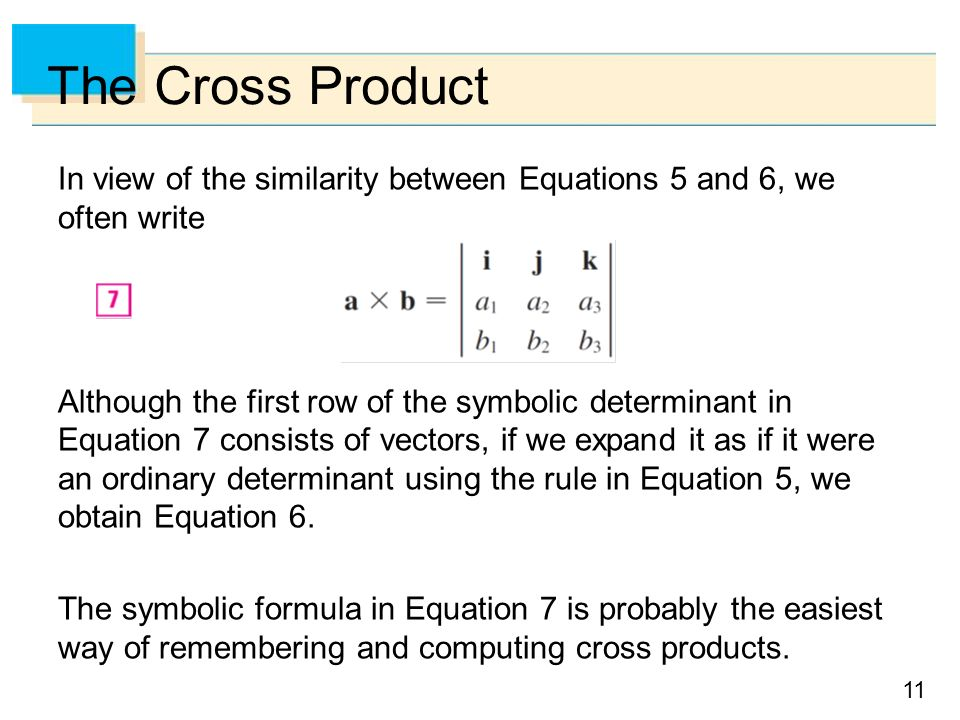 Cross product of vectors