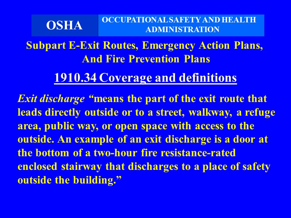 6 1910.34 Coverage and definitions  sc 1 st  SlidePlayer & Means of Egress and Fire Protection - ppt video online download pezcame.com