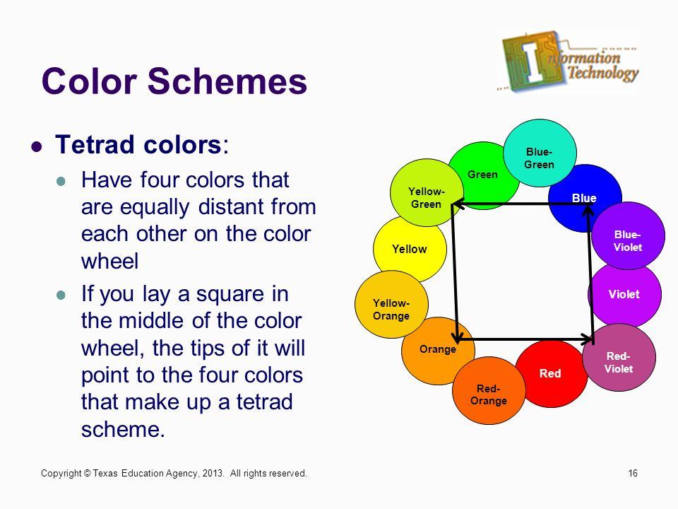 16 Color Schemes Tetrad