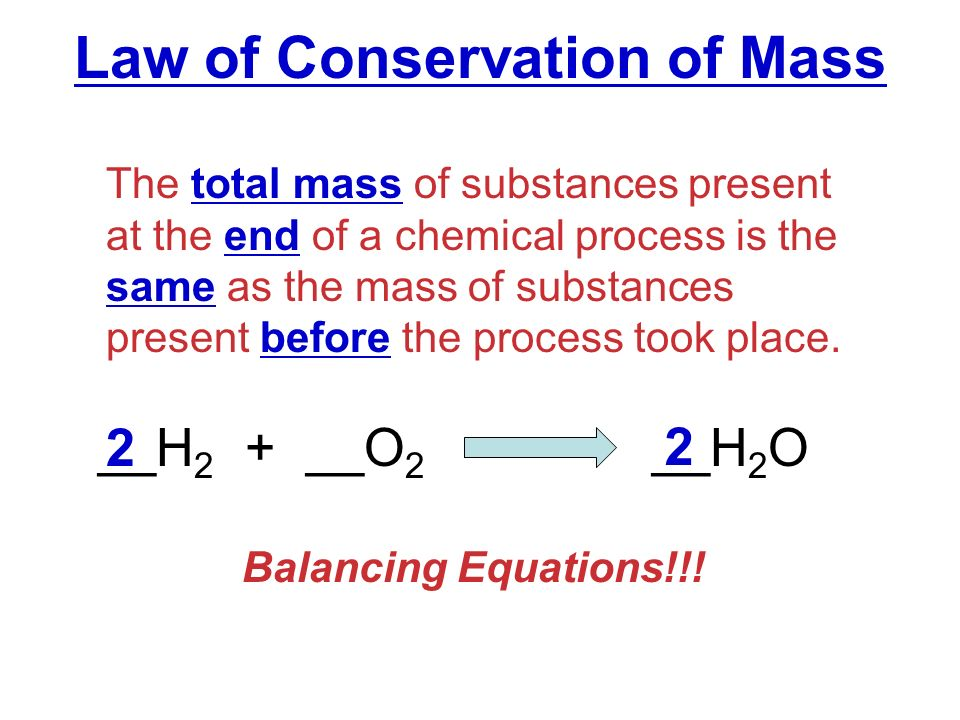 Law of conservation of mass equation