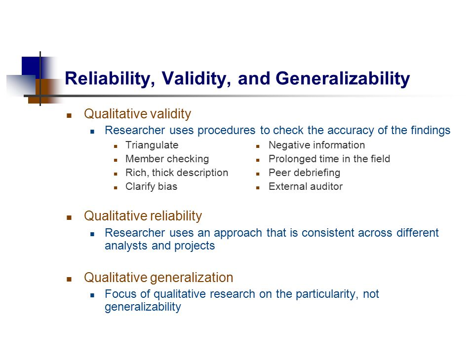 """focus group research reliability validity replicability generalisability essay The importance of the concepts of reliability and validity in research findings is   keywords reliability, validity, blurred genres, credibility, generalizability, validity  checklist  reliability in quantitative research has focused on the concept of  consistency,  the essay as an art form was replacing the scientific article"""" ( denzin."""