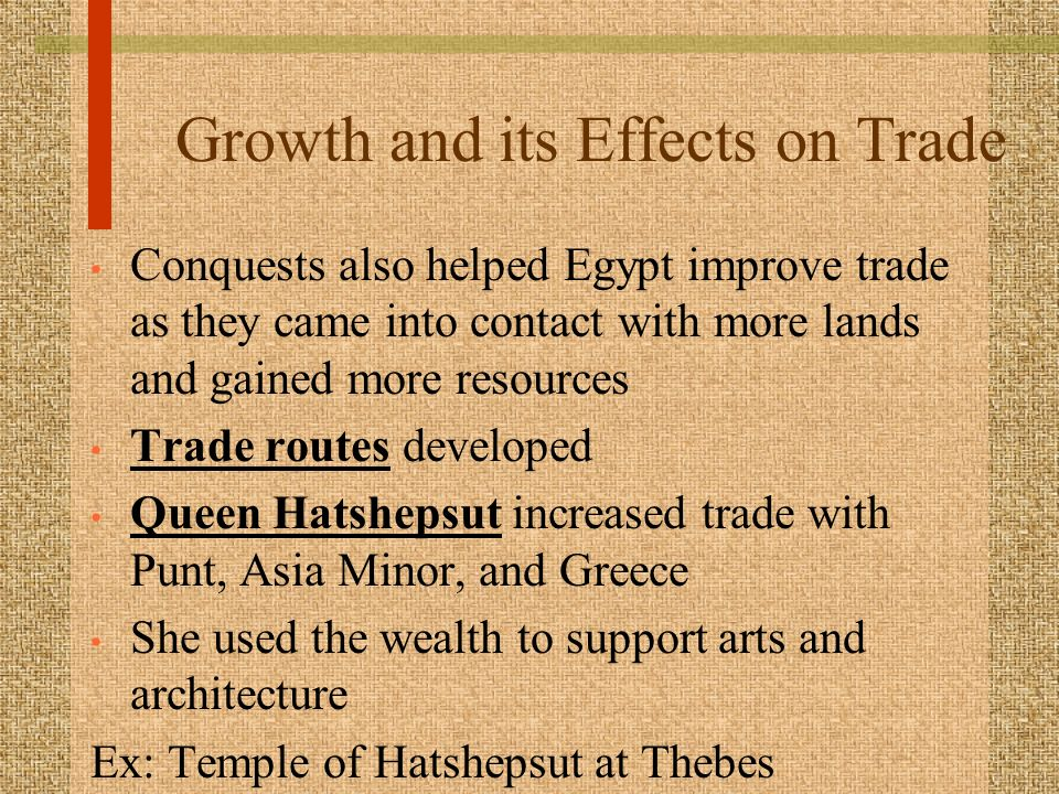impact of trade on egypt Domestic trade in a society  the impact coined money had on the  whose main aim was the exploitation of egypt in favour of rome trade was in the hands of.