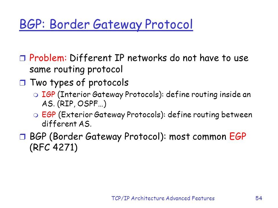 Chapter 3 tcp ip architecture advance features ppt download for Exterior gateway protocol examples