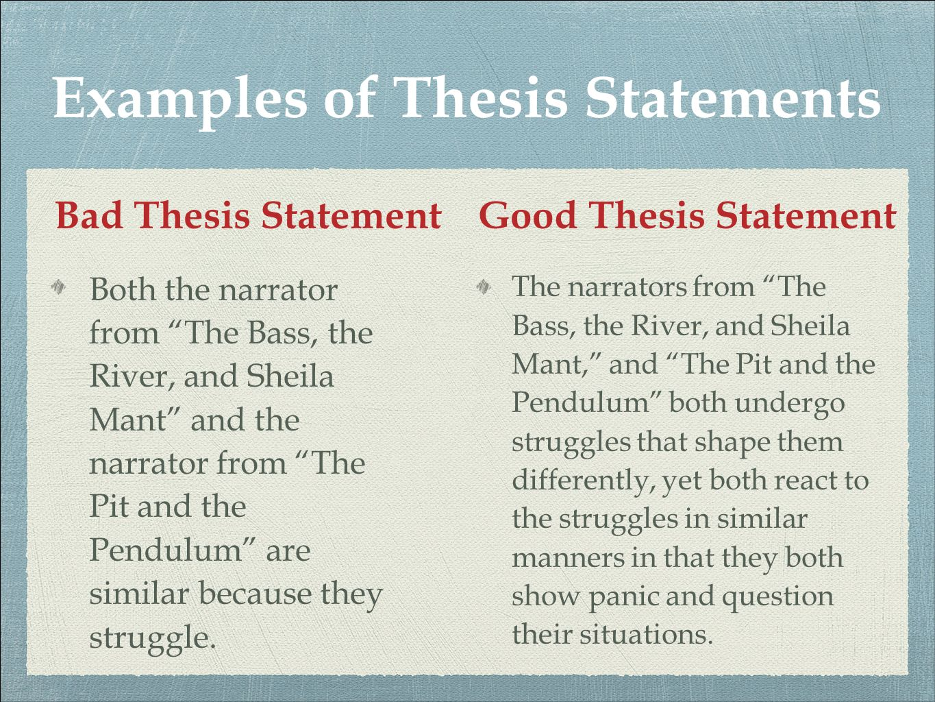thesis good and bad Looking for some free examples of thesis statements this article contains compares several good and bad examples, as well as a checklist of traps that writers might fall into while crafting their own statement.