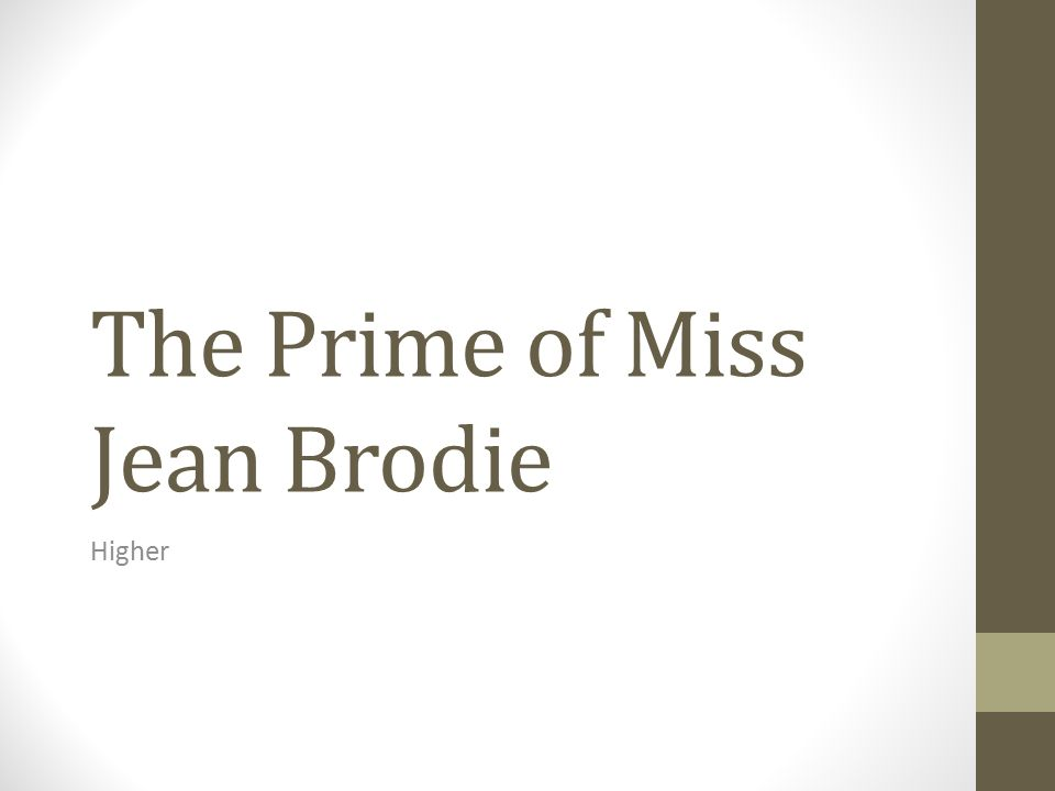 narrative structure prime miss jean brodie Rankin recalled the scene in spark's best-known novel, the prime of miss jean brodie  which spark borrowed for a long narrative poem and her first.