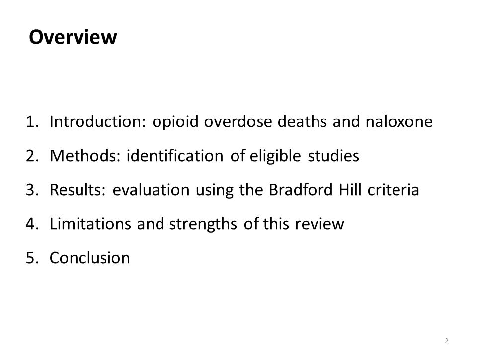Overview Introduction: opioid overdose deaths and naloxone