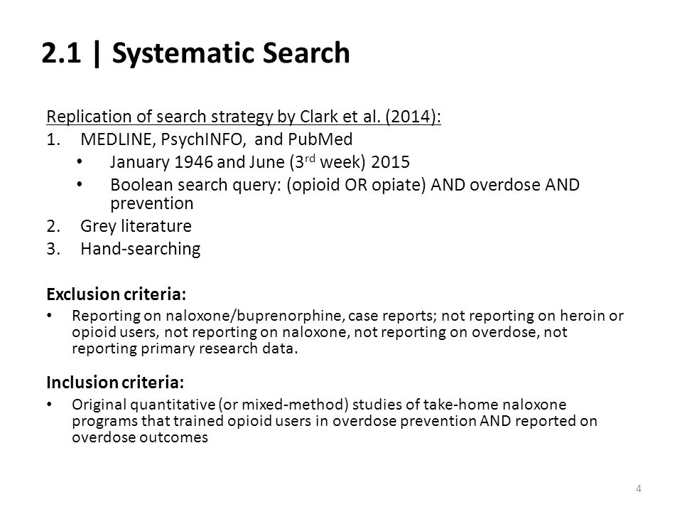 2.1 | Systematic Search Replication of search strategy by Clark et al. (2014): MEDLINE, PsychINFO, and PubMed.