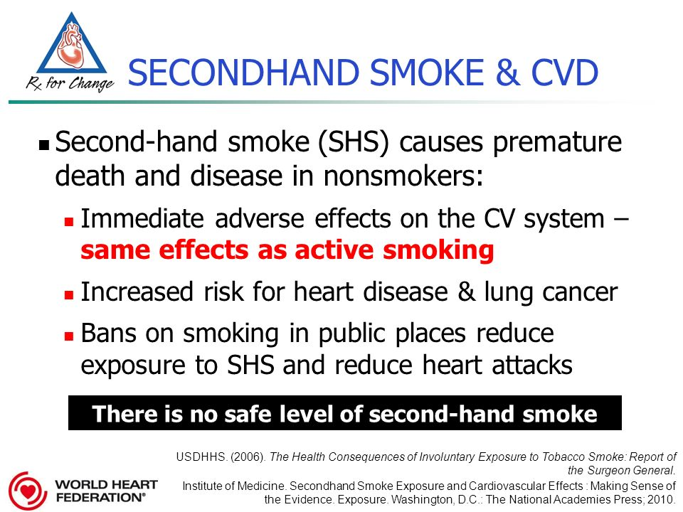 "the health risks cause by inhalation of smoke from the air of nonsmokers Learn of the health risks of secondhand smoke  may inhale (the ""tars"" in the  cigarettes) from secondhand smoke often exceed the national air quality  standard set by the environmental protection agency (epa) for outdoor air   secondhand smoke causes about 3,000 lung cancer deaths each year in  nonsmokers in the."