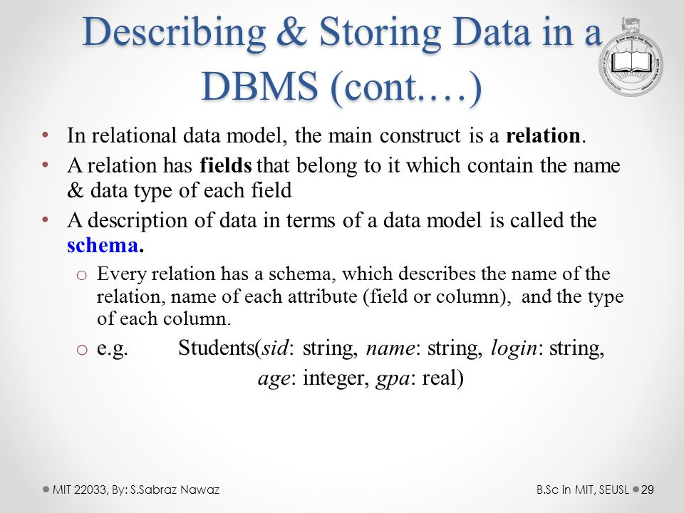 describing storing data from dbms Applications accessing data in the dbms  § a collection of tools for describing – data  – efficient storing, retrieving and updating of data.