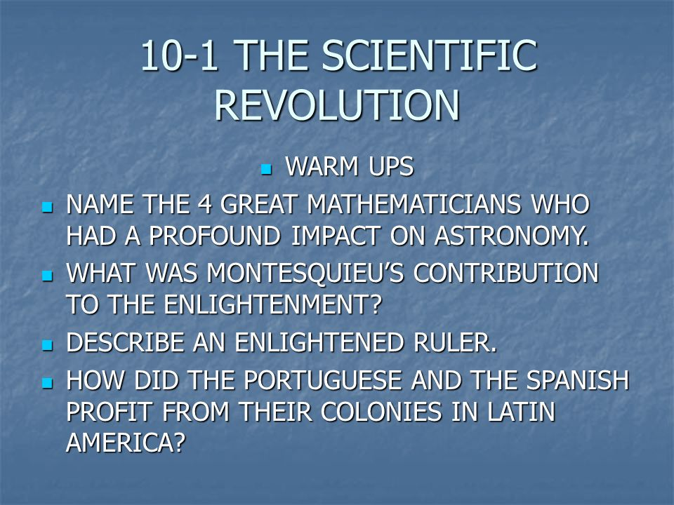 a history of the impact of the scientific revolution This question is too broad ,its answer is really very wide ,may be it takes a written book to point out these effects and causeif one follows the history of science revolutions for the last 300 years,for sure will find a huge changes in every section of human`s sociaties life and structuresthese scientific revolution`s effects and cause can.
