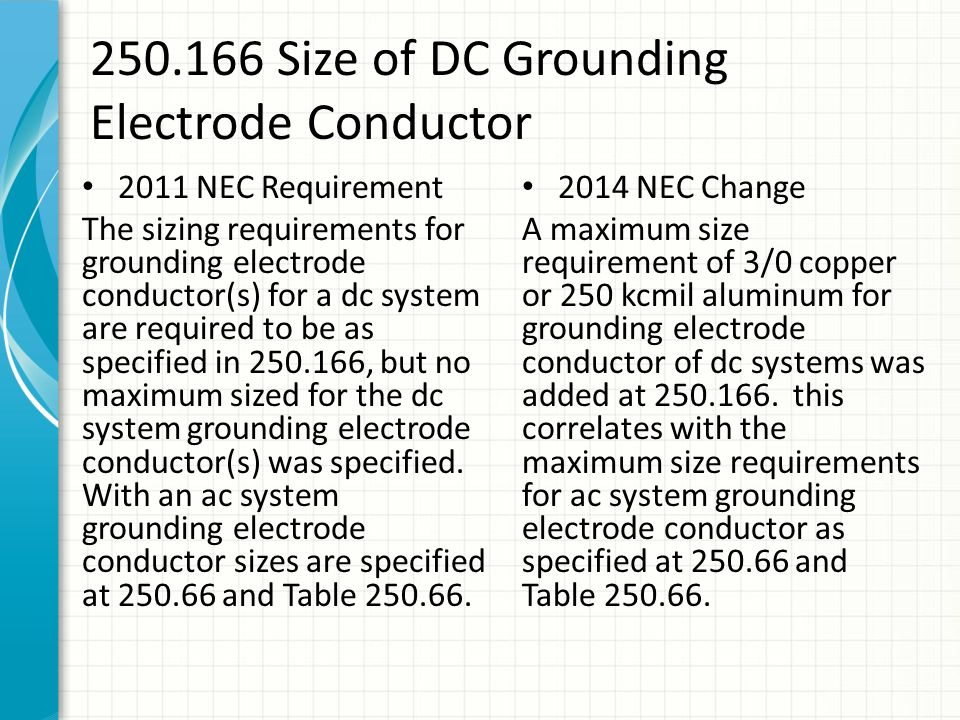 2014 nec code changes class part iv ppt download 250166 size of dc grounding electrode conductor greentooth Images