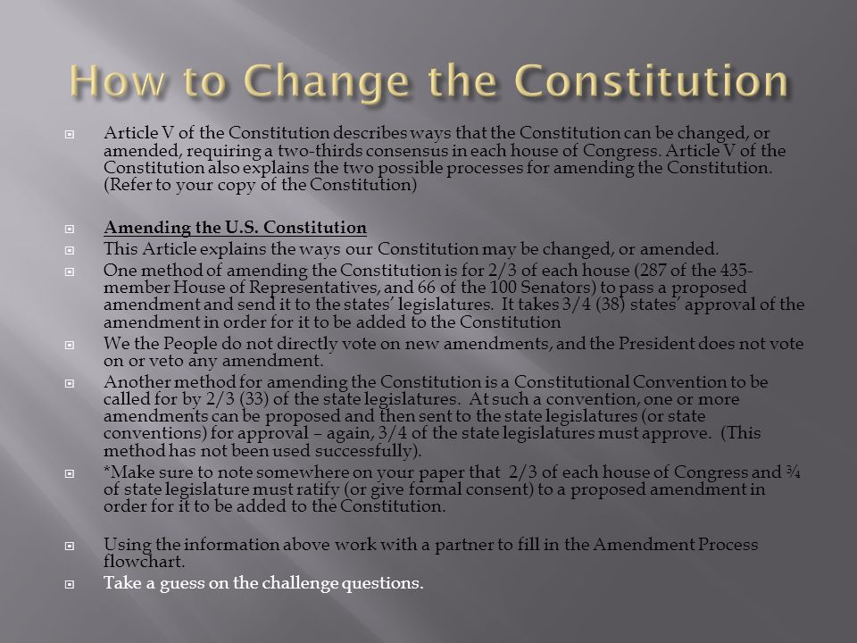 Lesson 21- The Amendment process - ppt download