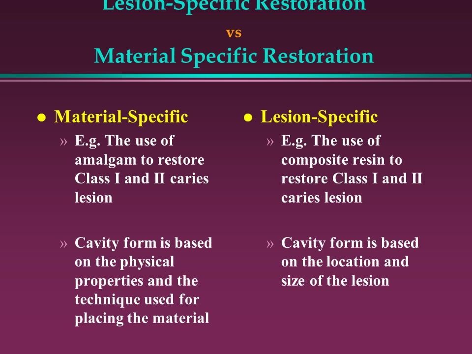 Lesion-Specific Restoration vs Material Specific Restoration