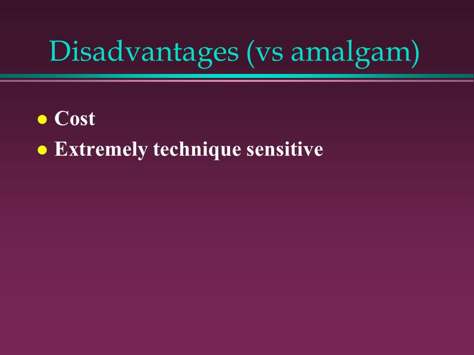 Disadvantages (vs amalgam)