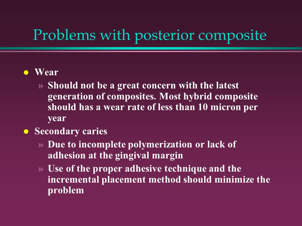 Problems with posterior composite