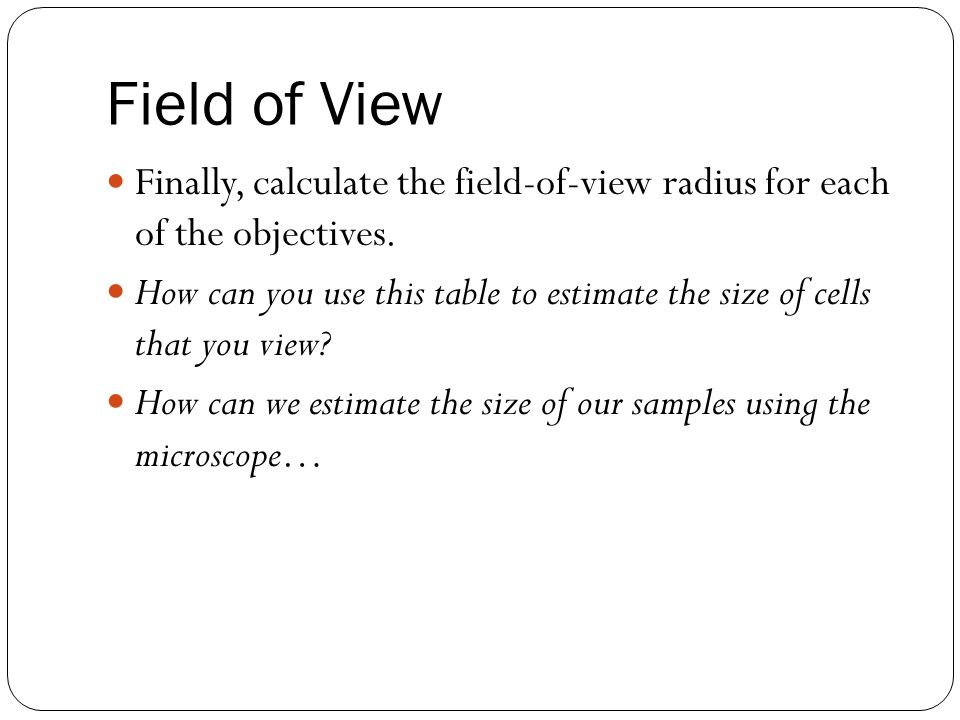 how to find out field of view