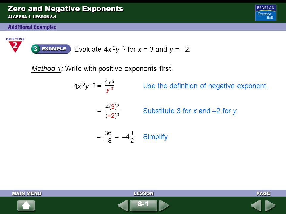 algebra expression positive negative and zero Zero and negative exponents  simplify each expression using the zero exponent rule of  simplify each expression and write the answer with positive exponents.