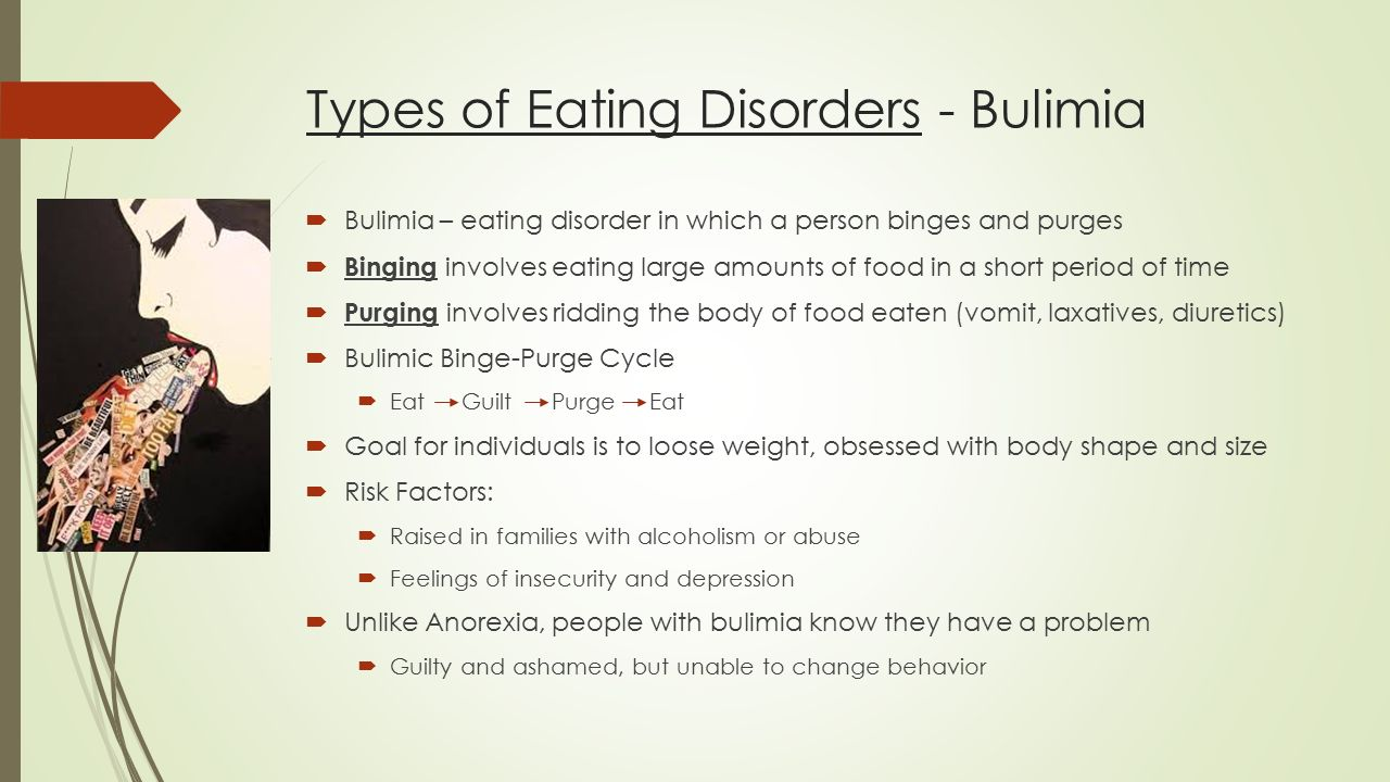 a report on the eating disorder bulimia The eating disorder inventory (edi) is a self-report questionnaire used to assess the presence of eating disorders, (a) anorexia nervosa both restricting and binge-eating/purging type (b) bulimia nervosa and (c) eating disorder not otherwise specified including binge eating disorder (bed.